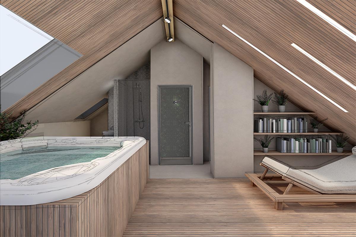 Spa und Wellnessoase in Dachgeschoss einer Doppelhaushalte Entwurf Heike Schwarzfischer für Burgmeier und Völkl Architekten