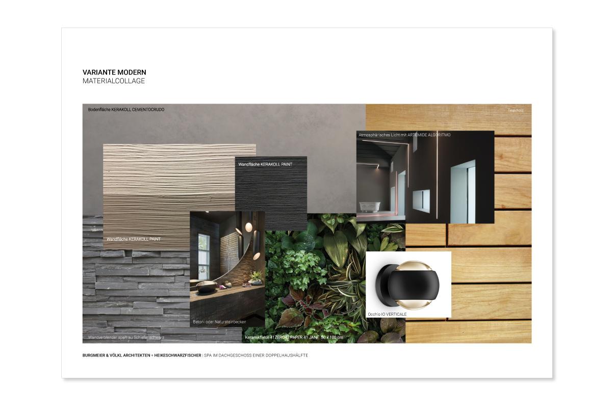 Spa und Wellnessoase in Dachgeschoss einer Doppelhaushalte Entwurf Heike Schwarzfischer für Burgmeier und Völkl Architekten Materialcollage