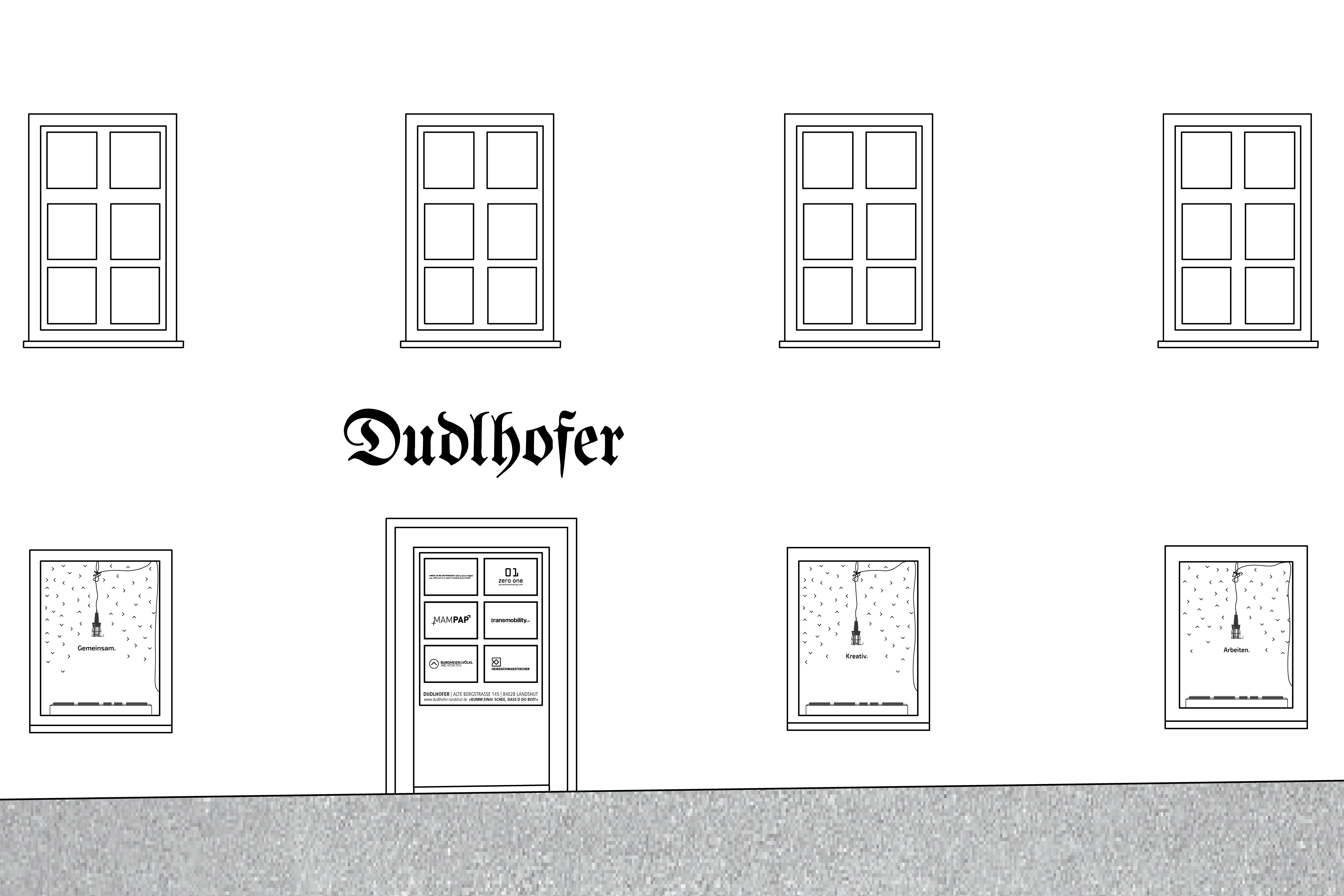 Dudlhofer Coworking Landshut Dreifaltigkeitsplatz Schaufenster Gestaltung Visual Design Storefront
