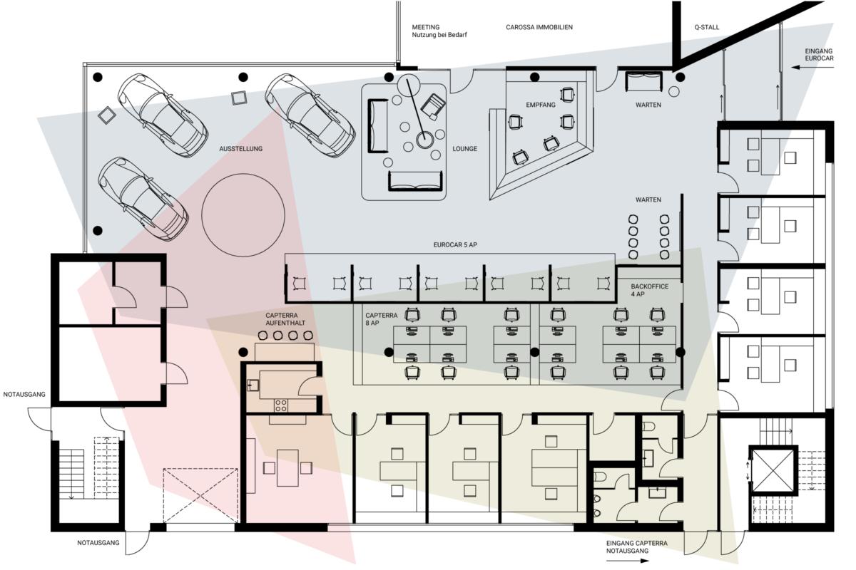 Eurocar Landshut Konzept Showroom Planung HEIKESCHWARZFISCHER Interiordesign Grundriss