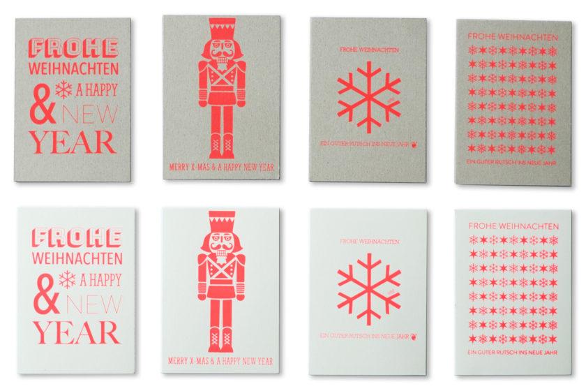 Siebdruck Weihnachtskarten Heike Schwarzfischer Nicolaidis YoungWings Stiftung