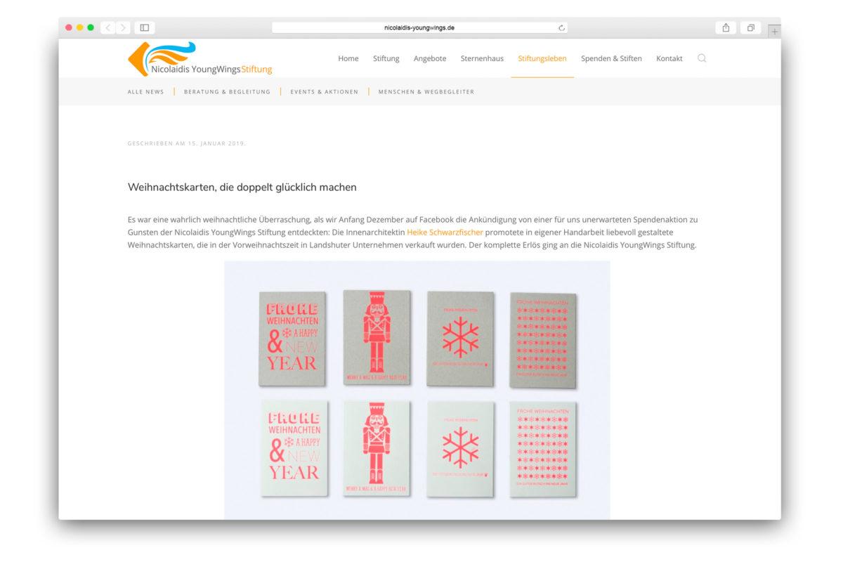 Stiftungsblog Weihnachtskarten Heike Schwarzfischer Nicolaidis YoungWings Stiftung