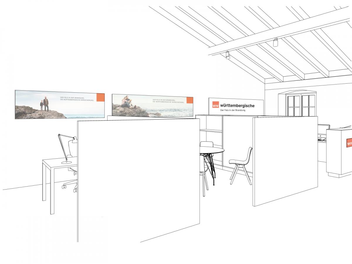 Corporate Interior Konzept für ein Vorsorge Center der Württembergischen Versicherung im Raum München © Heike Schwarzfischer Interiordesign Landshut