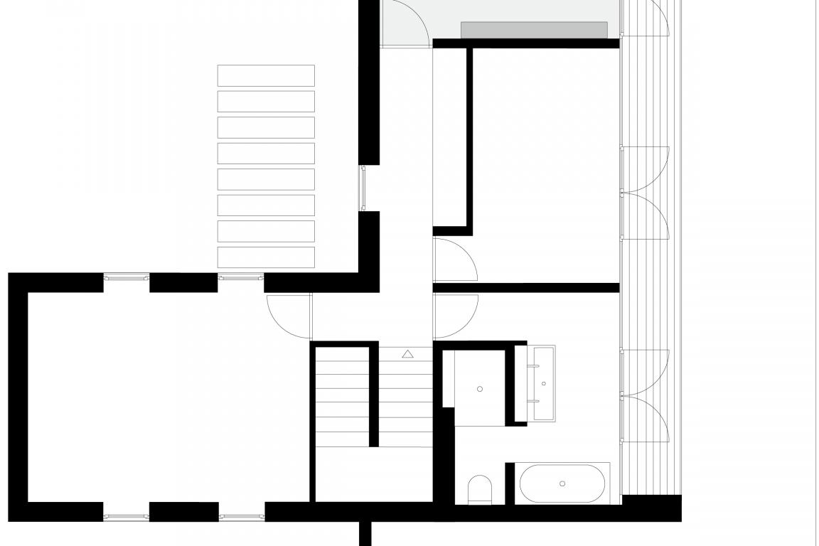 Innenarchitektur eines Jugendzimmer in dunklem Grau mit funktionalen und maßgefertigten Einbauten © Heike Schwarzfischer Interiordesign in Landshut bei München